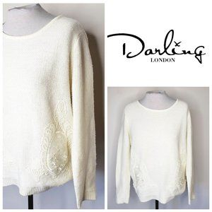 DARLING LONDON Cream Lace Embroidered Sweater